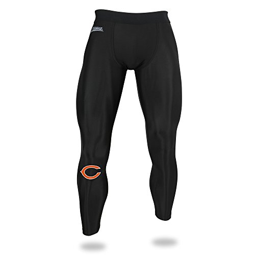 Zubaz NFL Chicago Bears Men's Solid Team Leggings, Black, -