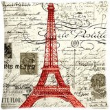 Vintage Red Paris Eiffel Tower Art Throw Pillow Case Zippered Cushion Cover Home Sofa Decorative 18 X 18 Inch (Twin Sides)
