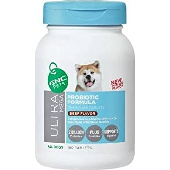 Supplement your dog's diet with GNC Pets Ultra Mega Probiotic Formula Beef Flavor Chewable Tablets. These delicious beef-flavored chewables contain 2 billion probiotics plus prebiotics, work to promote better digestion and also support the growth of beneficial bacteria in the body.
