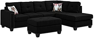 Sectional Sofa Set Linen Fabric Nailhead Studded Reversible with Ottoman (Black) 2019 Updated Model by Bliss Brands