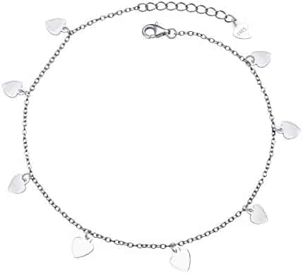 d9456e656e0406 S925 Sterling Silver Jewelry Adjustable Slice Charm Foot Anklet Bracelet  Beach Anklet Gift for Women Girls