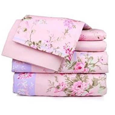 Dor Extreme Super Soft Luxury Bed Sheet Set in 6 Prints, Twin, Pink Floral, 6 Piece