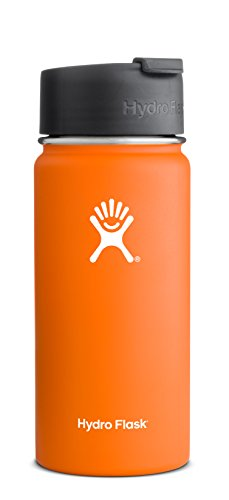 Hydro Flask 18 oz Vacuum Insulated Stainless Steel Water Bottle, Wide Mouth w/Hydro Flip Cap, Orange Zest