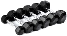 CFF Rubber Hex Dumbbell- 25lbs – Single Dumbbell