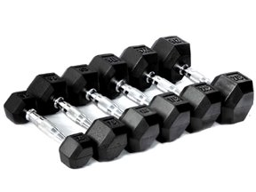 CFF Rubber Hex Dumbbell- 55lbs - (Single Dumbbell)