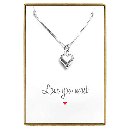 Tiny Heart Necklace, Silver Heart Necklace, Sterling Silver Heart Necklace, Gift for Mom, Gift for Daughter, Girlfriend Gift