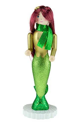 Clever Creations - Mermaid Christmas Nutcracker - Traditional Wooden Decorative Figure in Green and Gold Merfolk Dress with a Green Scarf - 14 Inches