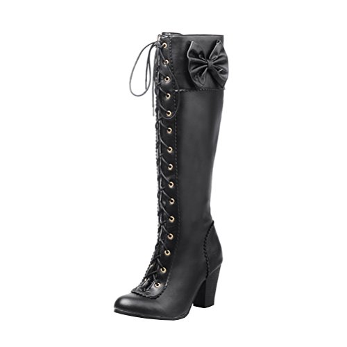 Agodor Women's High Heels Lace up Knee High Boots With Bowtie Closed Toe Dolly Lolita Winter Long Shoes Black