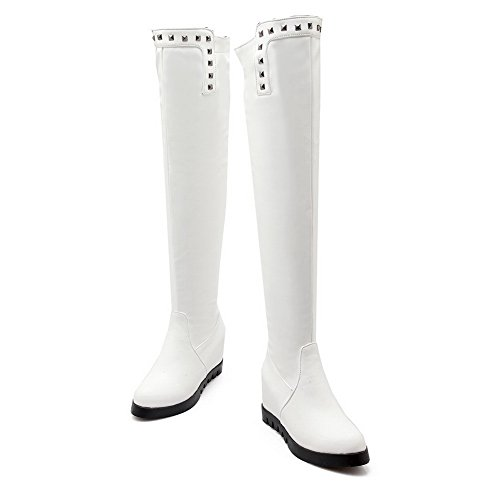 Heighten Leather Ornament White Girls Imitated Boots Metal AdeeSu Inside Platform A5wFXH