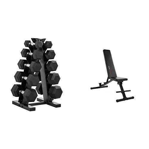 CAP Barbell 150-Pound Dumbbell Set with Rack, Optional Bench, Multiple Options