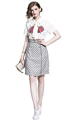 LAI MENG FIVE CATS Women's Tie Neck Floral Print Button up Casual/Work A-line Midi Dress ()