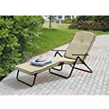 Mainstays* Sand Dune Outdoor Padded Folding Chaise Lounge, Tan, Set of 2