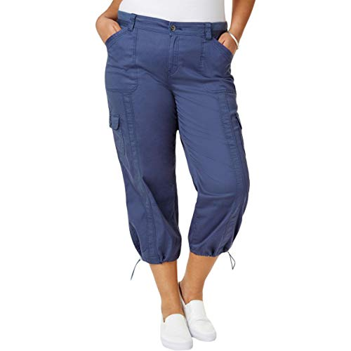 Style & Co. Womens Plus Capri Mid-Rise Cargo Pants Blue 24W