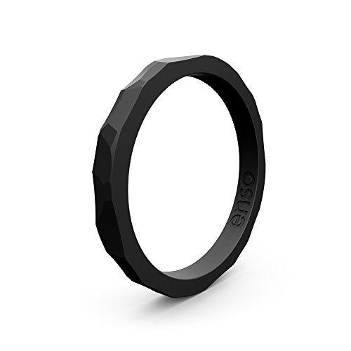 Enso Silicone Ring/Wedding Band. Hammered Design for Men and Women Color: Obisidian Black. Size: 7