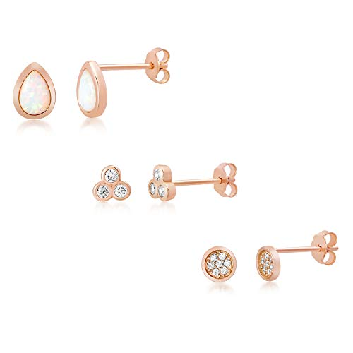 (WILLOWBIRD Laboratory Created Opal & Cubic Zirconia Trio Mini Stud Earring Set for Women In Rose Gold Plated 925 Sterling Silver (Pink Pyramid, Disc, Teardrop))