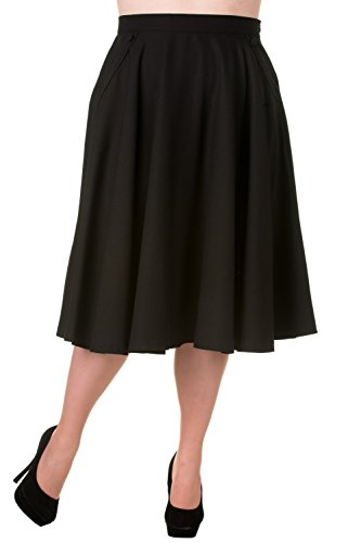Banned Plus 50's 60' Rockabilly Pin-up Black Pocket Swing Skirt (XXL)