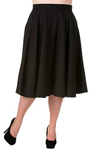 Banned-Plus-50s-60-Rockabilly-Pin-up-Black-Pocket-Swing-Skirt-XXL