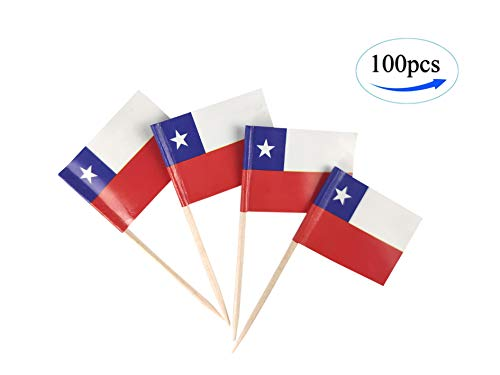- JBCD Chile Flag Chilean Flags,100 Pcs Cupcake Toppers Flag, Country Toothpick Flag,Small Mini Stick Flags Picks Party Decoration Celebration Cocktail Food Bar Cake Flags