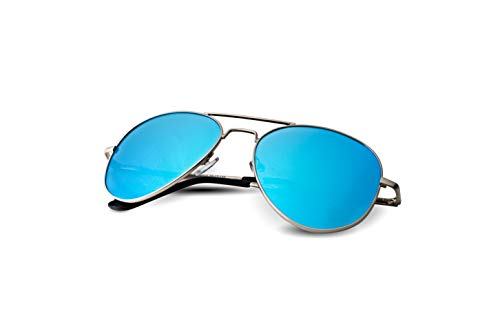 Lunette Aviator Sunglasses for Women and Men with Polarized Lens and UV400 Protection (Silver, ()