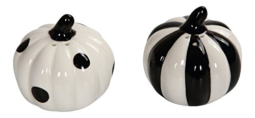 Black and White Stripes and Polka Dots Pumpkins Salt and Pepper Shaker Set ()