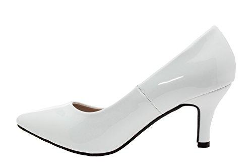 Andres Machado. AM5015. Salon Charol Punta Fina. Mujer.Tallas Pequeñas/Grandes. 32/35,42/45. blanco