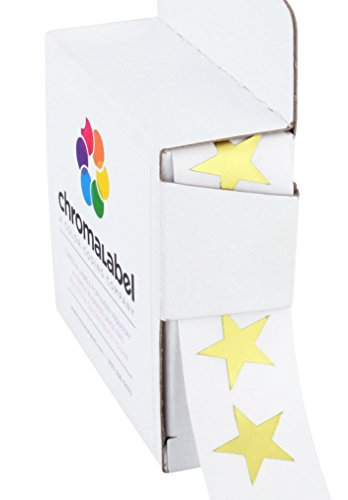 ChromaLabel 3/4 inch Color-Code Star Labels | 1,000/Dispenser Box (Metallic Gold)