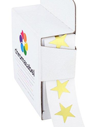 (ChromaLabel 3/4 inch Color-Code Star Labels | 1,000/Dispenser Box (Metallic Gold) )
