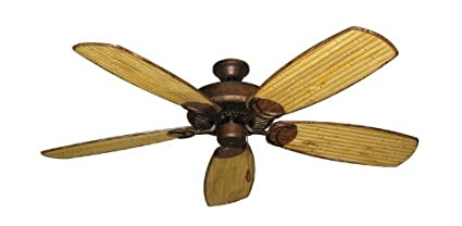 Riviera II Tropical Ceiling Fan In Burnished Copper With 52quot Series 275 Arbor Bamboo Blades