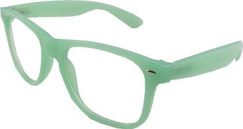 Retro Vintage Geek Wayfarer Style Glasses Clear Lenses - Mint Green ...