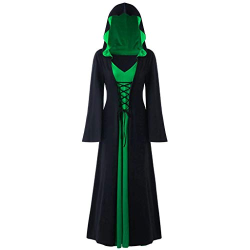 LODDD Women's Plus Size Halloween Hooded Lace Up Patchwork Long Sleeve Long Maxi Dress Green