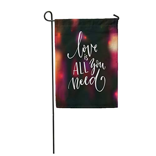 Semtomn Garden Flag 12x18 Inches Print On Two Side Polyester Love is All You Need Romantic Saying for Valentine's Day Modern Calligraphy Home Yard Farm Fade Resistant Outdoor House Decor Flag ()