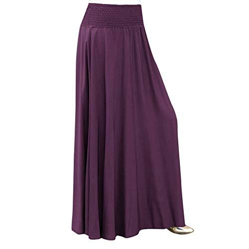 - RAINED-Women Elastic Waist Long Skirt Solid Pleat Skirt Vintage Loose Maxi Skirt Casual Flowy Dress Knee Length Skirt Purple