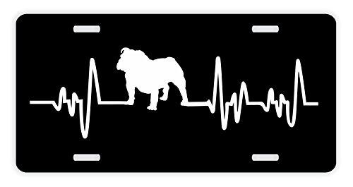 ThisWear English Bulldog License Plate Dog Lover Heartbeat English Bulldog Accessories English Bulldog Lovers Gifts English Bulldog Mom English Bulldog Dad Rescue Bully Novelty License Plate Black