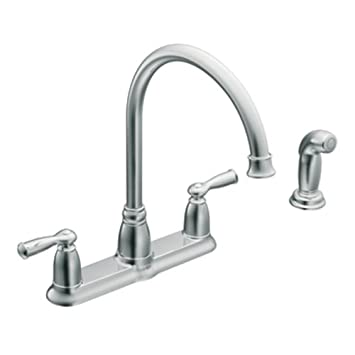 moen ca87000 high arc kitchen faucet with side spray from the banbury collection chrome