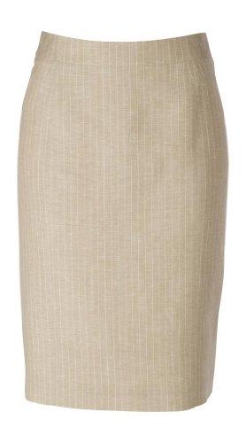 woolmaster Women's Wool/Linen Pencil Skirt 6 Beige Stripe - Stripe Wool Skirt