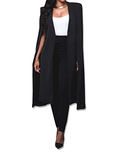 Women's Long Open Slit Sleeve Cloak Capes Jacket 4XXL Open Front Long Slit Blazer Cape Coat Plus Size(BL-4XL) -