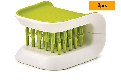 2Pcs Blade Brush Knife and Cutlery Cleaner Green Brush Bristle Scrub for Kitchen Washing Non-Slip by Lucky Shop1234