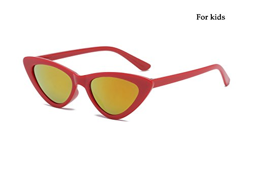 Livhò Retro Vintage Narrow Cat Eye Sunglasses for Women Clout Goggles Plastic Frame (Red/Oronge Yellow For kids) ()