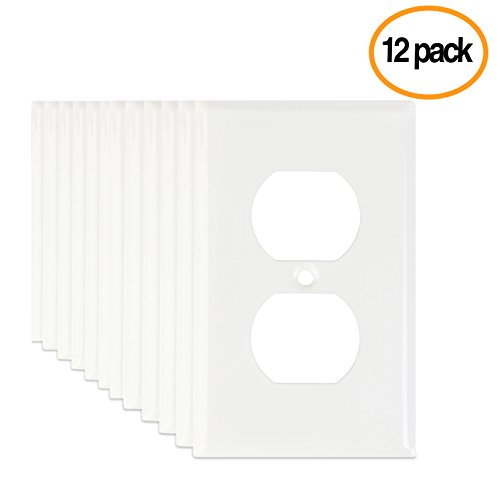 LoGest Duplex 1-Gang 12-Pack White Wall Plates - Metal Steel - Home Electrical Outlet Cover - Port Replacement Receptacle - Faceplates Covers - Matching screws