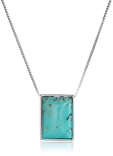 Sterling Rectangle Stabilized Turquoise Necklace