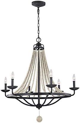 Feiss F3129 6DWZ DWG Nori Candle Bead Chandelier Lighting, Bronze, 6-Light 33 Dia x 35 H 360watts