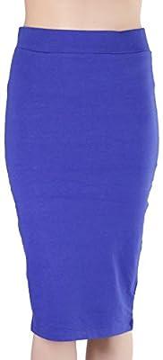 ToBeInStyle Women's Premium Cotton-Blend Basic Knee Skirt