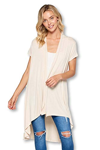 ReneeC. Women's Extra Soft Natural Bamboo Short Sleeve Cardigan - Made in USA (X-Large, Taupe)