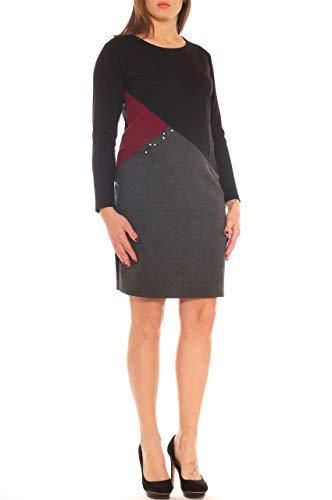 A Nero Taglia Tubino Morbida Stretch Con Jersey Donna In Vestito Strass qZ4xwd6Z