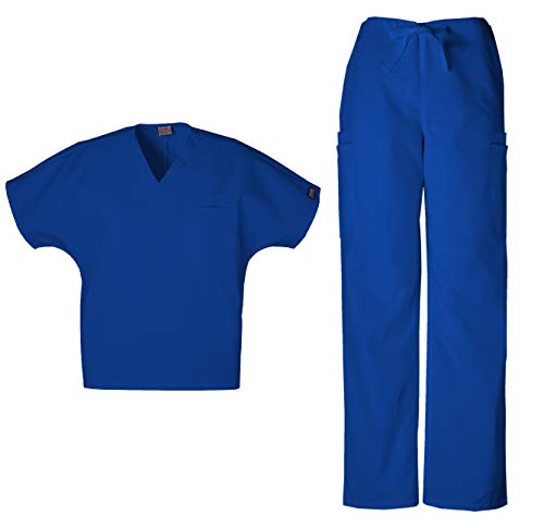 Cherokee Workwear Men's Dental/Medical Uniform Scrub Set - 4777 V-Neck Scrub Top & 4000 Drawstring Cargo Pants (Galaxy Blue - XXX-Large/XX-Large)