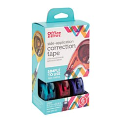 office-depot-side-application-correction-tape-1-line-x-394in-assorted-colors-pack-of-6-10847