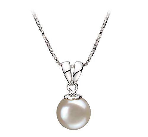 Sally White 9-10mm AA Quality Freshwater 925 Sterling Silver Cultured Pearl Pendant For Women (Pearl Fw Necklace Pendant)