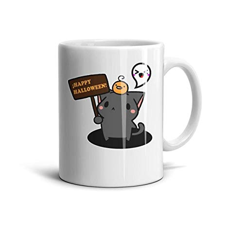FGBLK Happy-Halloween-Cat- Espresso Cups White Gift 11 oz