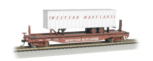 Western Flat Car - Bachmann Industries 52' with 35' Piggyback Trailer Western Maryland Flat Car, 6