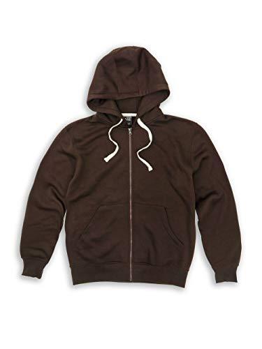 (Tank Men's Lightweight Basic Zip Down Fleece Hoodie Jacket-14 Variety of Colors, Size S to 6XL Brown)